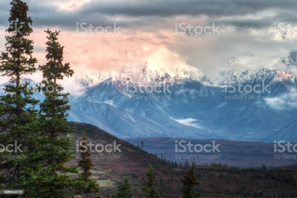 The sun lights up Mt. Denali early in the morning hours. stock photo