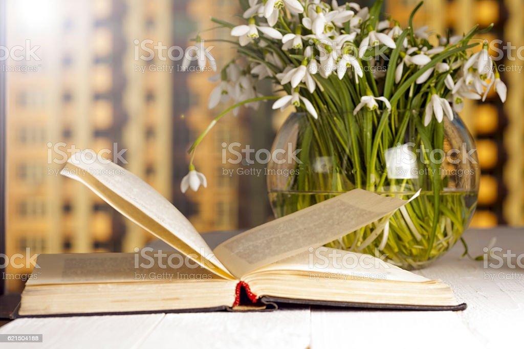 Die Sonne auf der Fensterbank zarte Blumenstrauß Lizenzfreies stock-foto