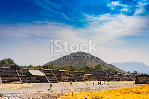 The sun pyramid in Teotihuacan. View with sky. Travel photo, background, wallpaper. Mexico.
