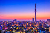 The sun rises over the city of Tokyo in the morning. Japan