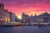 istock The sun sets in the old town of Poznan 1212569562