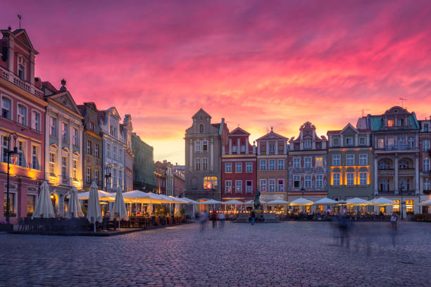 The sun sets in the old town of Poznan stock photo