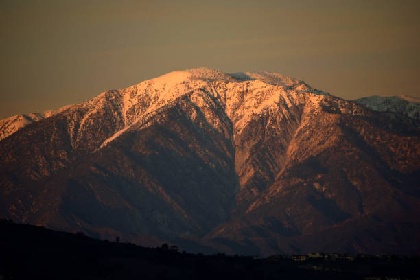 The Sun Sets on Mount Baldy stock photo
