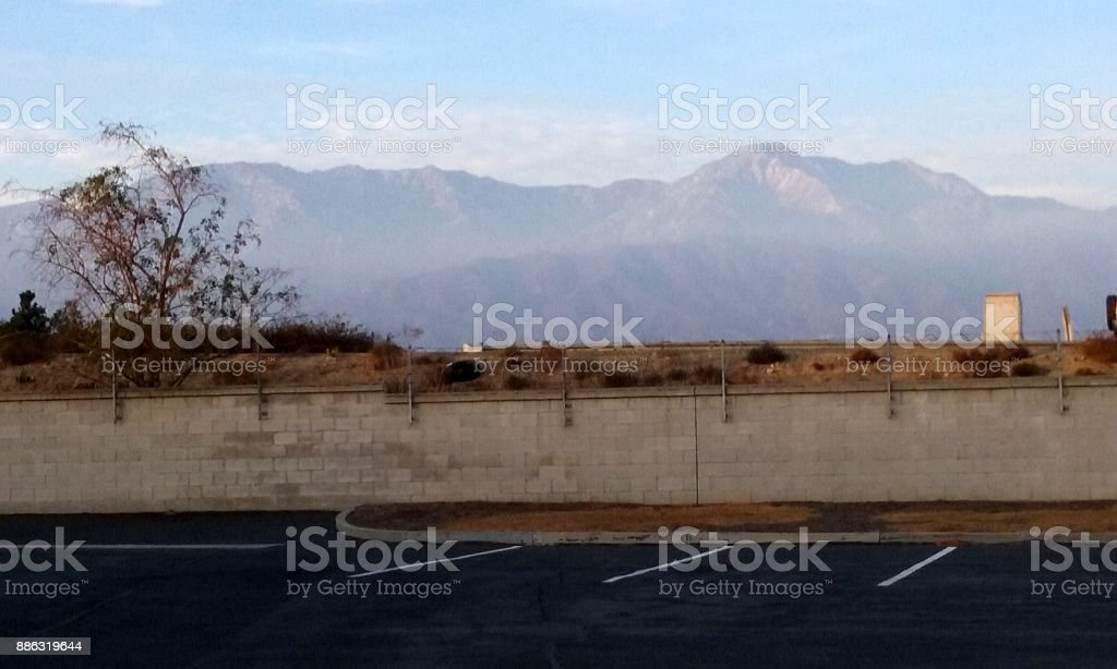 The Sun Sets on the San Gabriel Mountains stock photo