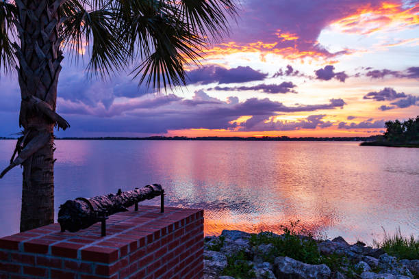 The sun sets over Lake Dora in historic Mount Dora Florida