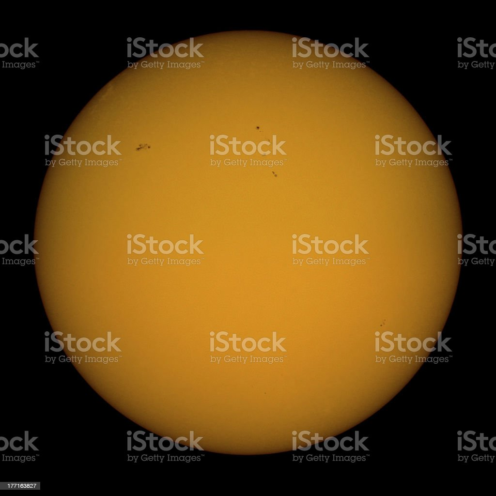 The Sun. Sunspots visible on surface. royalty-free stock photo