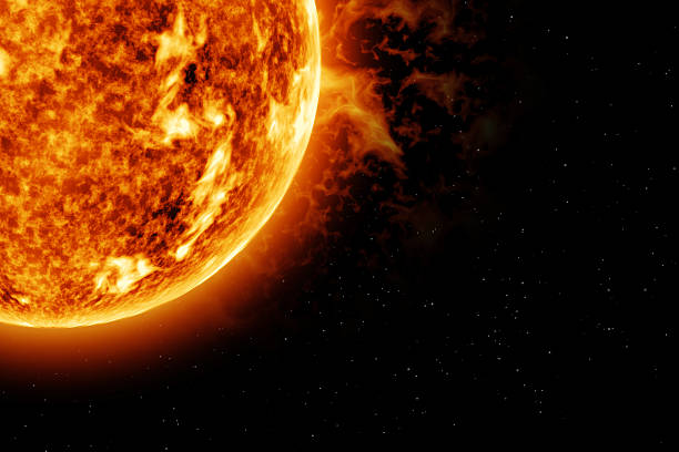 the sun - top left corner - space and astronomy stock photos and pictures