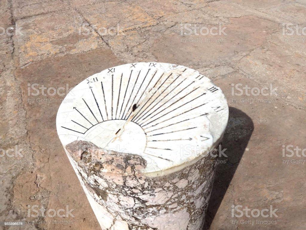 The sundial on the pillar in Carthage in Tunisia. Carthaginian civilization. UNESCO World Heritage Site stock photo