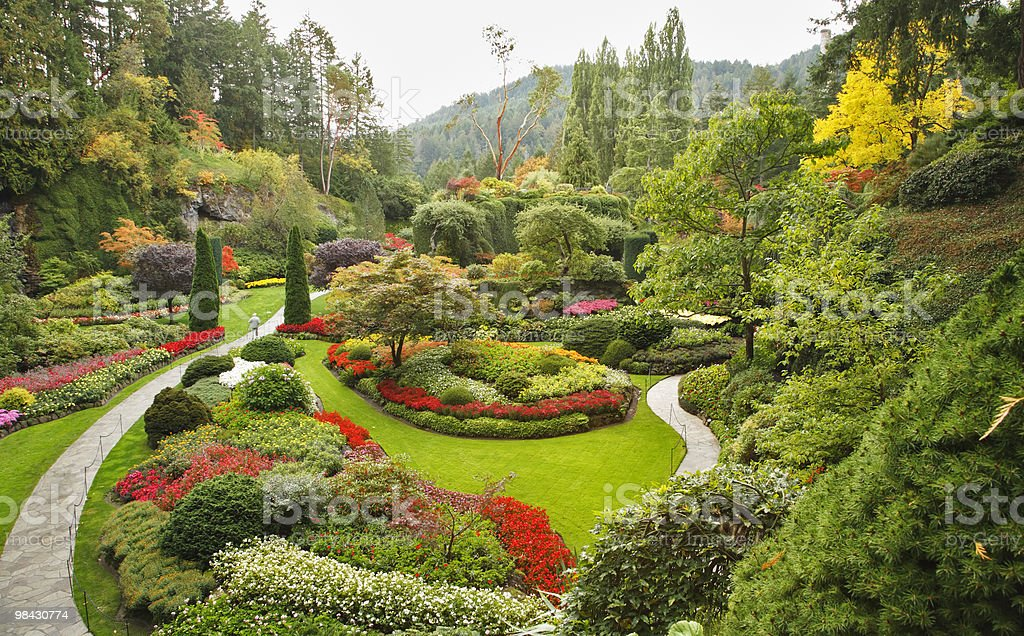The Sunken garden sull'Isola di Vancouver foto stock royalty-free
