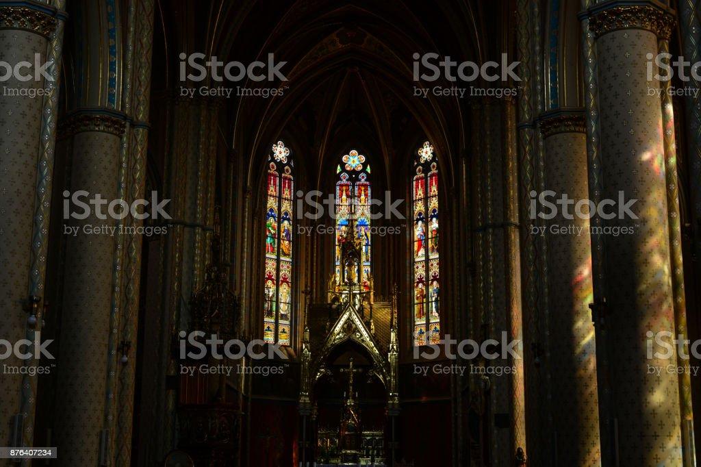 The sunlight betweet columns of catholic St. Ludmila church stock photo