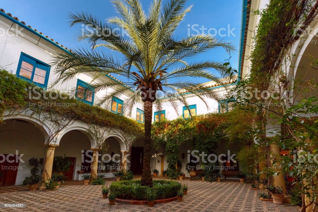 The sunny court in Cordoba, Spain stock photo