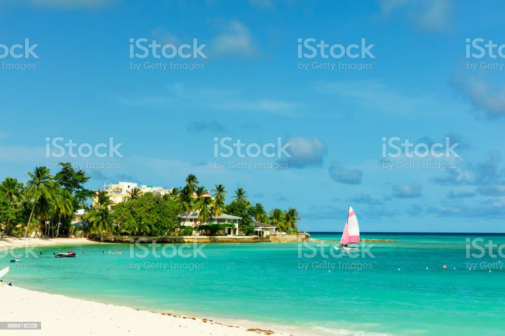 The sunny tropical Dover Beach on the island of Barbados stock photo