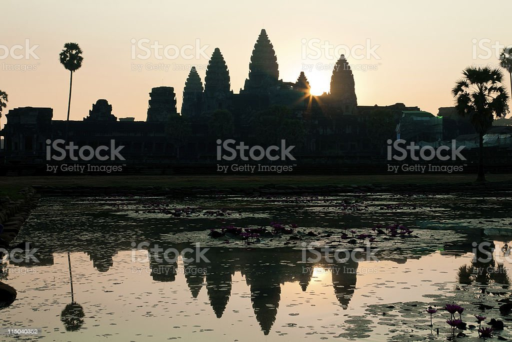 The sunrise at Angkor Wat, Cambodia stock photo
