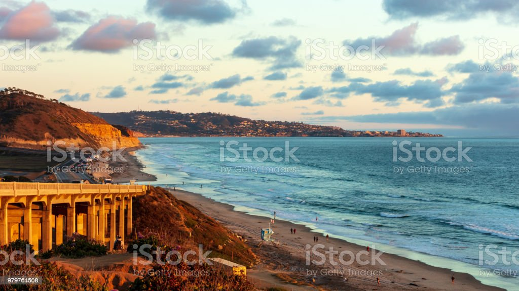 The sunset at the Terry Pines Beach, San Diego, CA stock photo