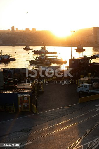 The sunset of the port of Valparaiso