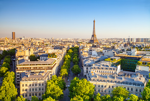 cityscape of paris by the sunset, France.