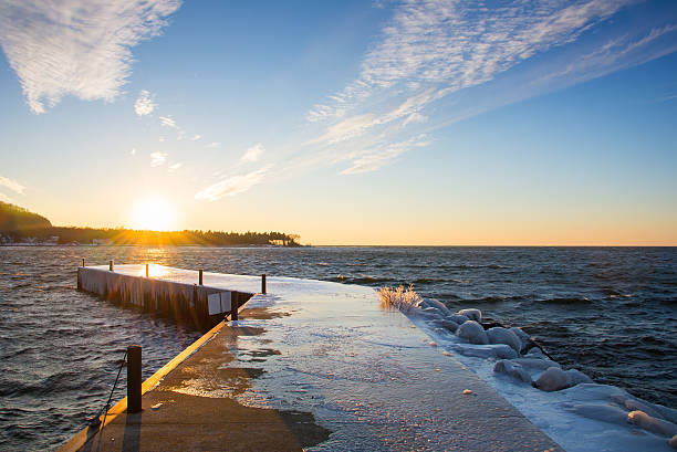 the sunset - green bay wisconsin stock photos and pictures
