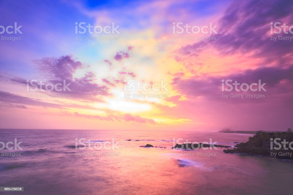 The sunset sky over the Indian ocean. Galle royalty-free stock photo