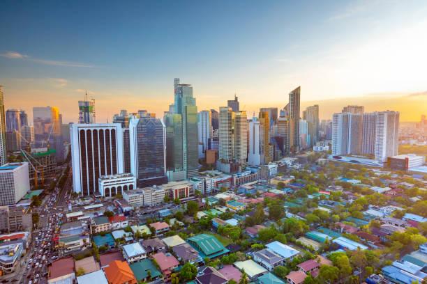 The sunset view of Makati stock photo