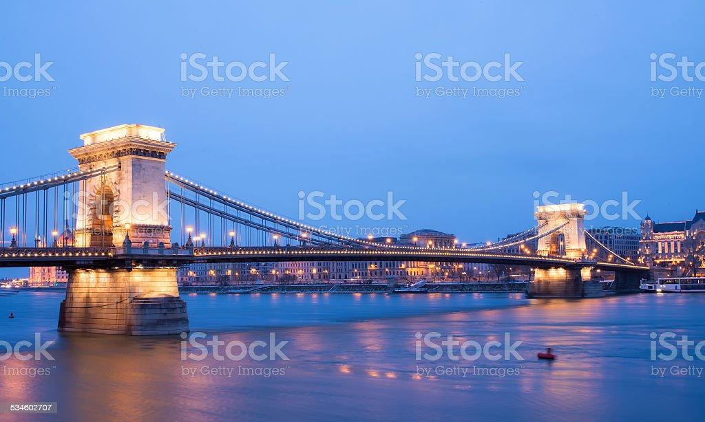 The sunset view of the Chain bridge. Budapest, Hungary stock photo