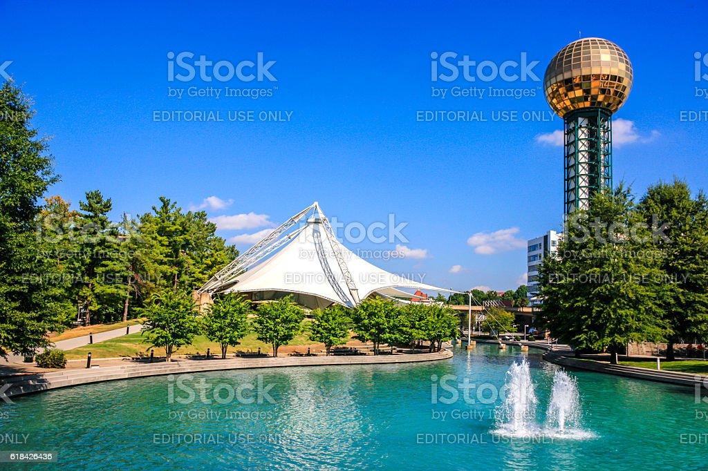 The Sunsphere overlooks the 1982 World's Fair Park, Knoxville, TN stock photo