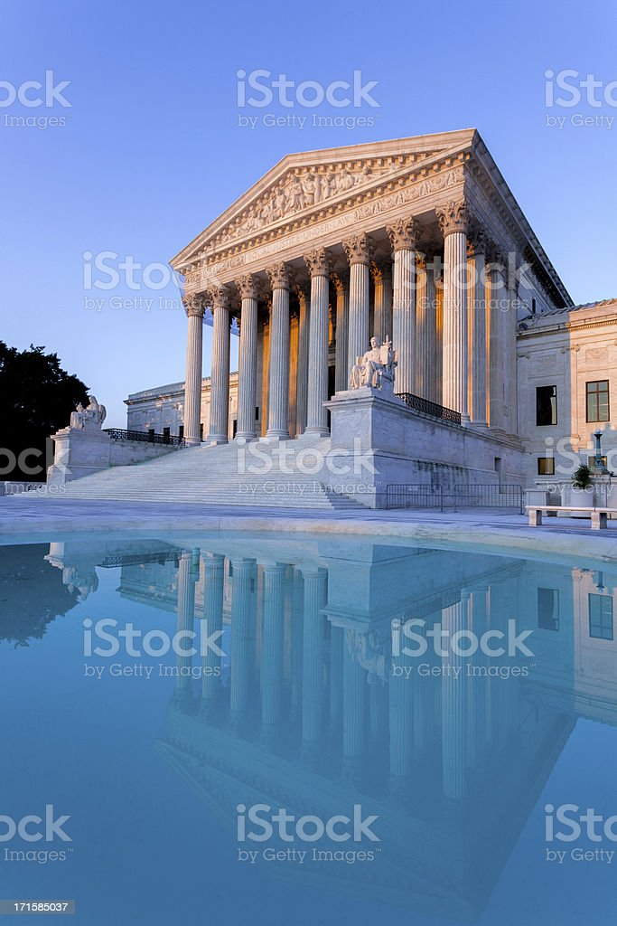 the Supreme Court at sunset stock photo