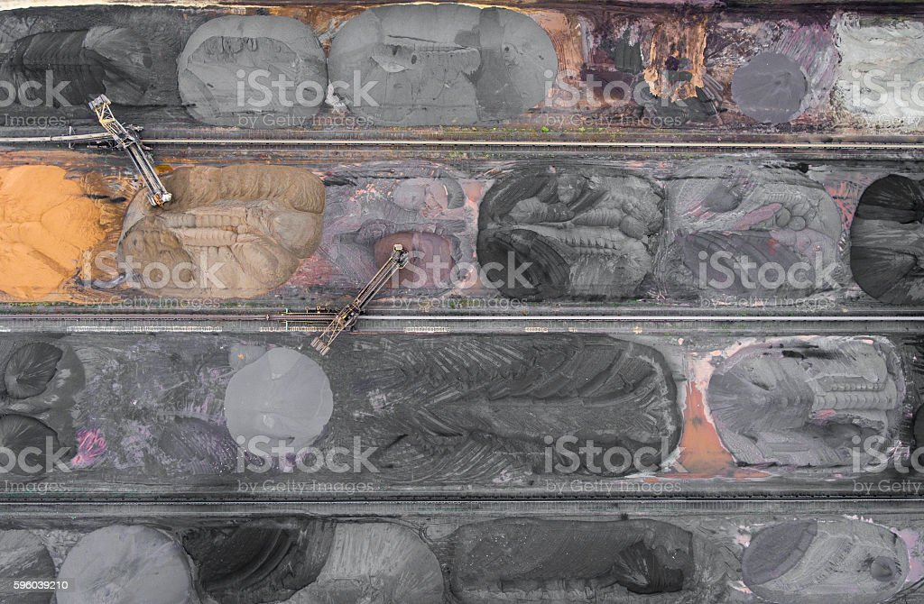 The surface mine storage place.View from above. stock photo