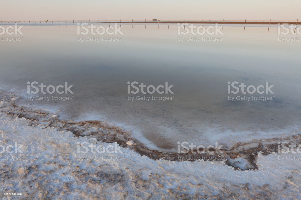 The surface of the  lake with very salty water stock photo
