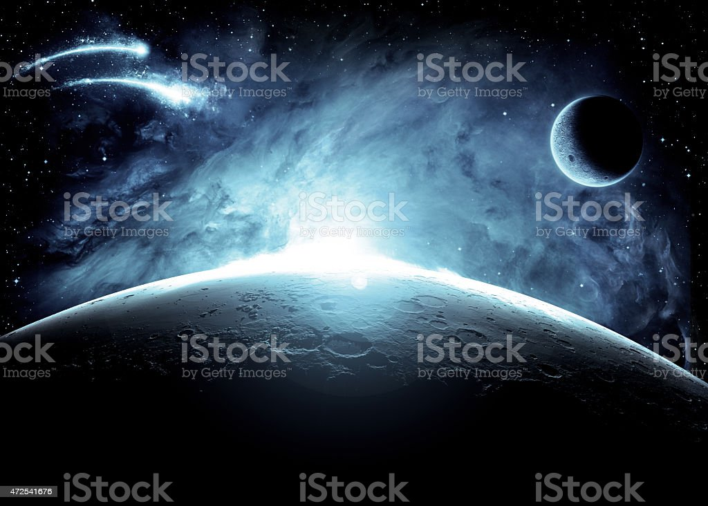 The surface of the moon with light in outer space stock photo