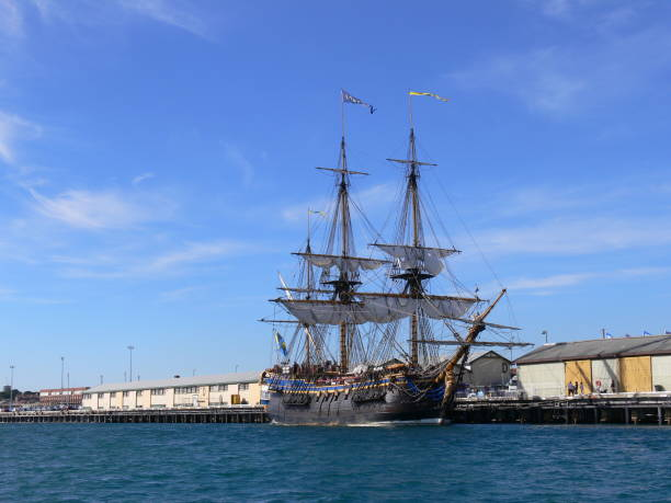 The swedish ship Götheborg in the harbour of Fremantle in Australia stock photo
