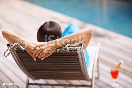 Rear-view shot of a young woman relaxing on a deck chair by the poolsidehttp://195.154.178.81/DATA/i_collage/pi/shoots/783411.jpg