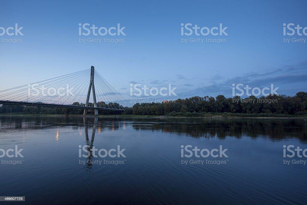 The Swietokrzyski Bridge over Vistula river in Warsaw stock photo