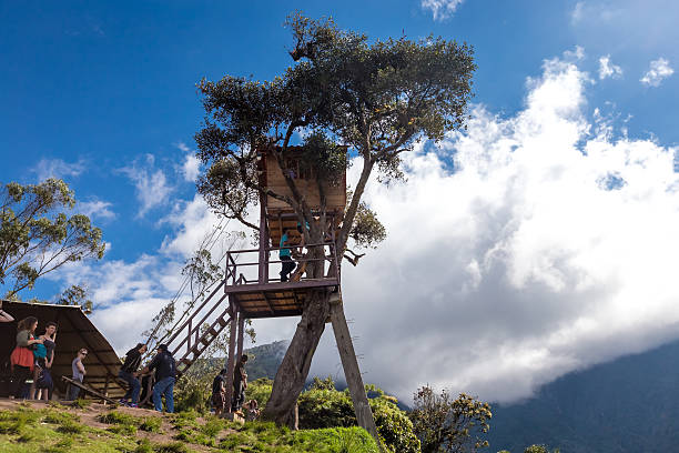 The Swing At The End Of The World ,Ecuador stock photo