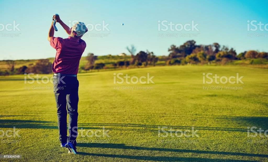 The swing that earned him his handicap royalty-free stock photo