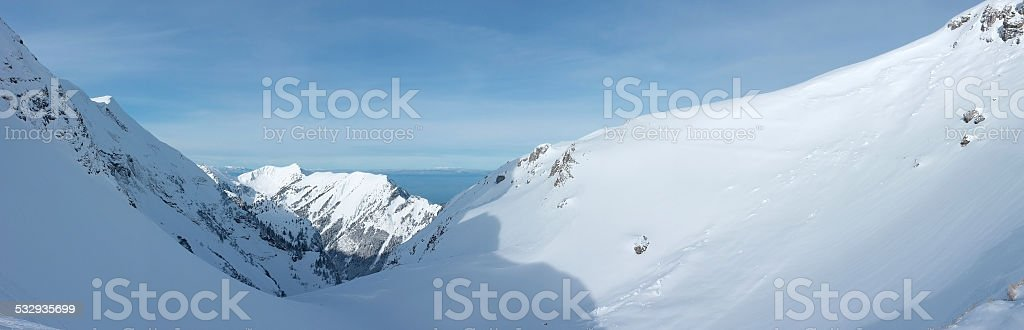 The Swiss Alps in winter stock photo