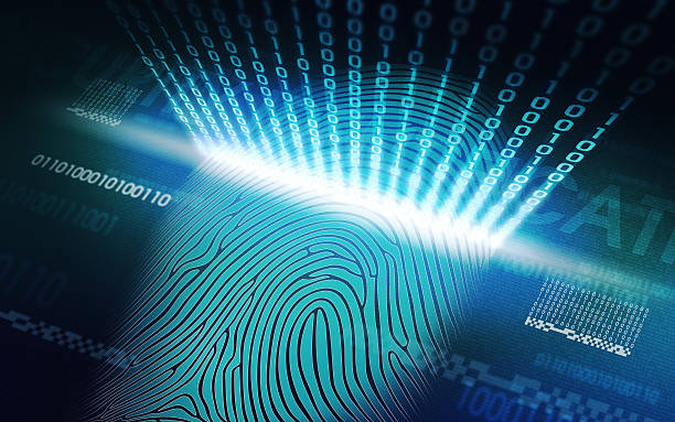 The system of fingerprint scanning - biometric security devices stock photo