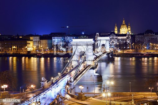 Aerial view of the széchenyi chain bridge and Budapest's cityscape at night, Budapest, Hungary.