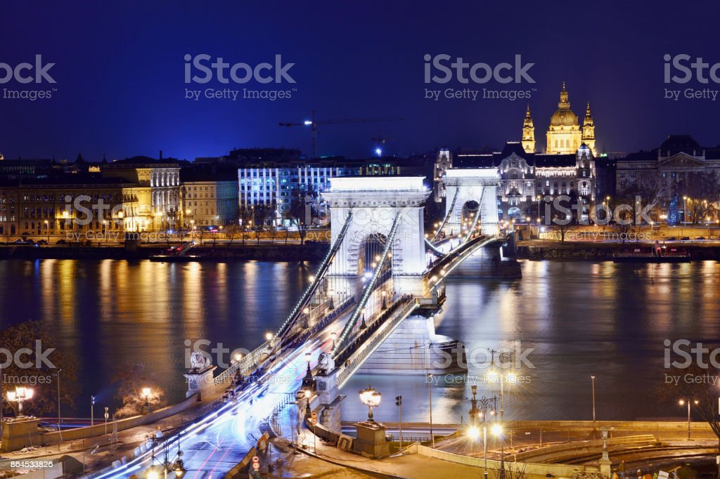 The Széchenyi Chain Bridge and Budapest Cityscape, Hungary stock photo
