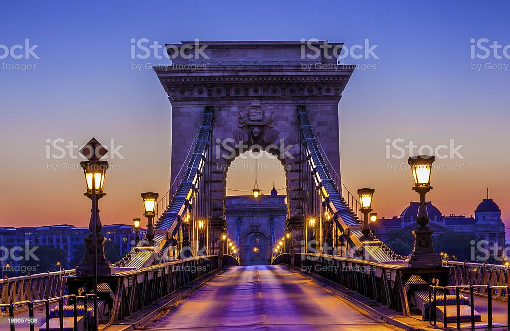 The Szechenyi Chain Bridge in Budapest stock photo