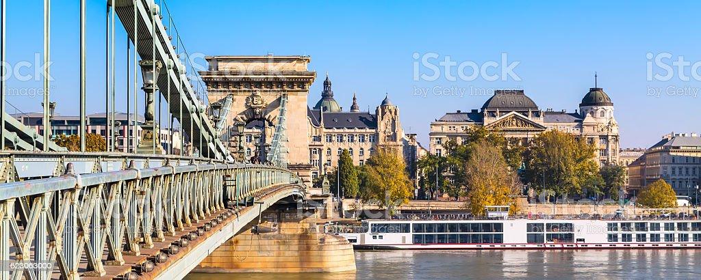 The szechenyi chain bridge on Danube river, Budapest stock photo