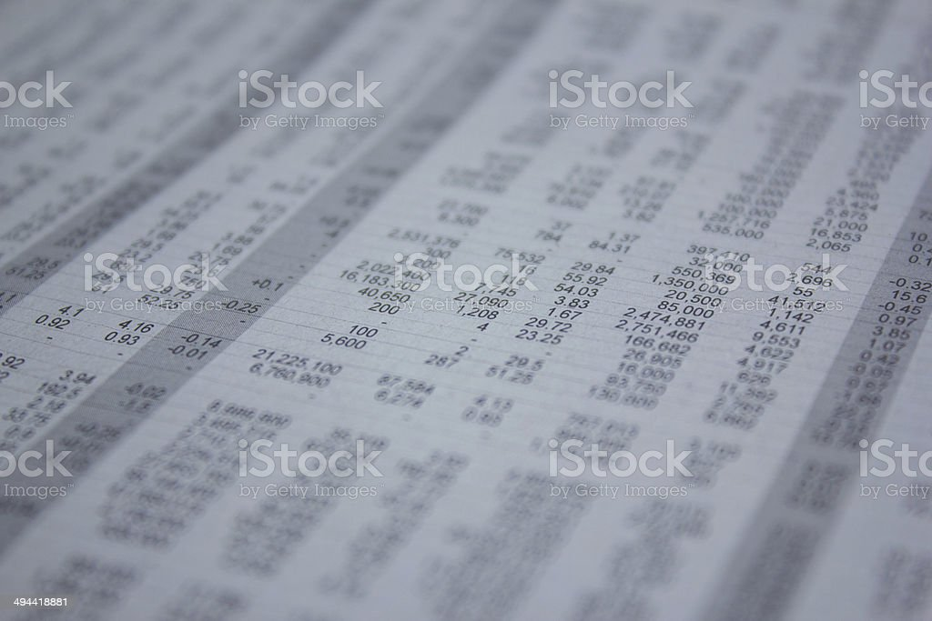The table with number  , stock market analyze. stock photo