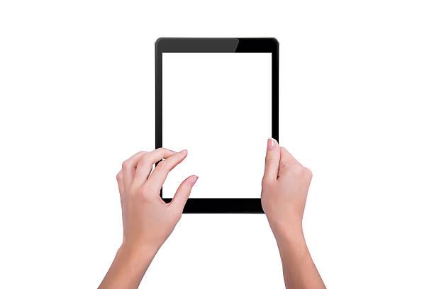 Die tablet in den Händen eines Mädchens – Foto