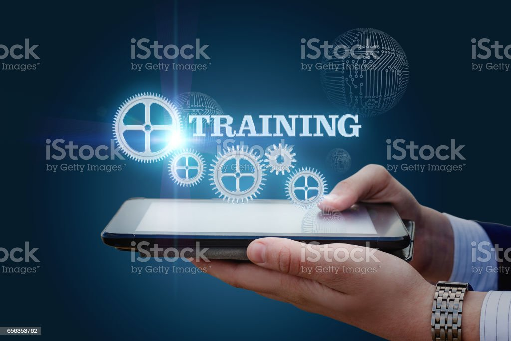 The tablet shows the inscription training. stock photo
