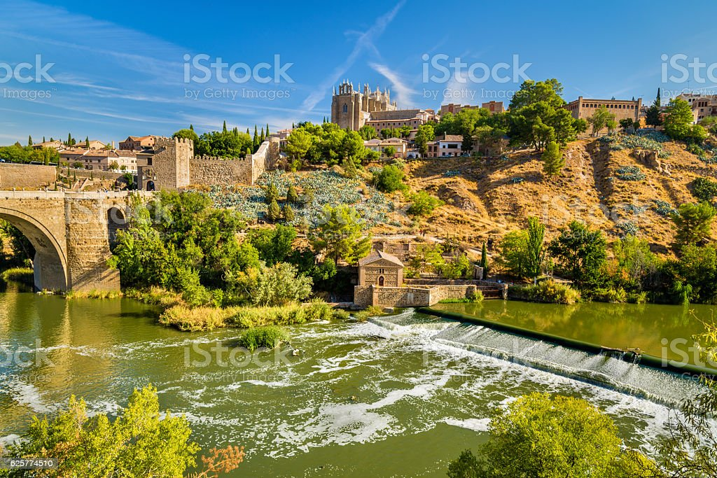 The Tagus River in Toledo, Spain stock photo