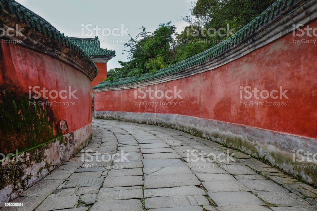 the Tai chi bua- ancient temple is a center of the Taoist Association of Wudang Mountain. stock photo