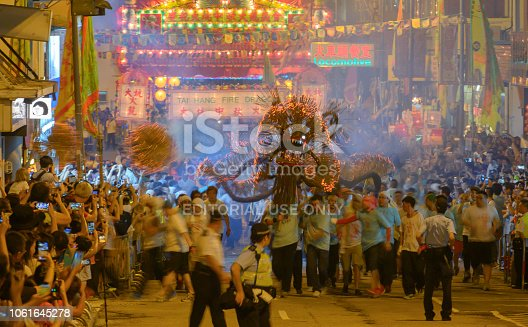 September 24, 2018, Hong Kong: Inscribed to China's national list of Intangible Cultural Heritage in 2011, the Tai Hang Fire Dragon Dance began in 1880 and is a highlight of Mid-Autumn Festival in Hong Kong.