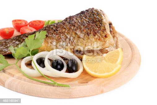 The tail of fried fish on a wooden plate