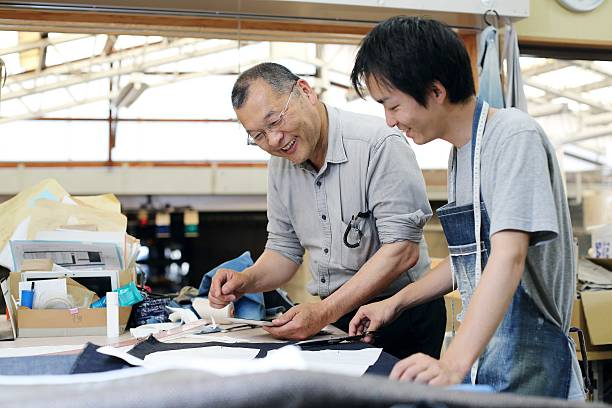 The tailor who talks about denim stock photo