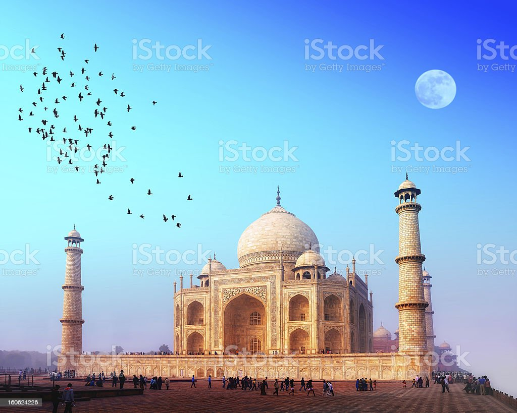 The Taj Mahal at sunset with birds flying over stock photo