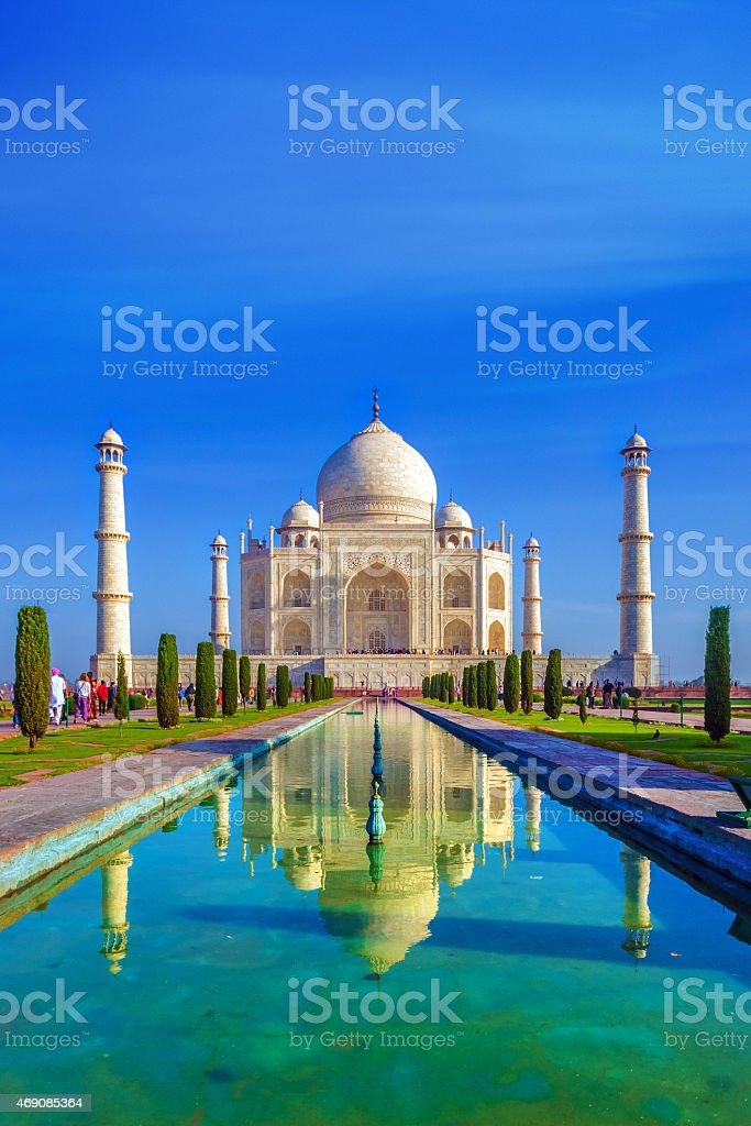 the Taj Mahal in the morning stock photo